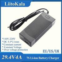 LiitoKala-Paquete de batería de iones de litio 7S, adaptador de fuente de alimentación rápida de Tipo de Escritorio, 29,4 V, 4A, 24v, EU/US/AU/UK, AC DC 5521