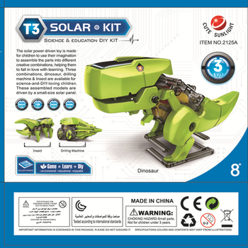 Solar toy robot diy assembled model dinosaur technology making 3 in 1 polymorph 3