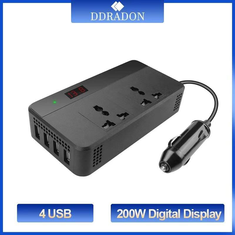 Автомобильный преобразователь напряжения 200 Вт 12 В 220 В с цифровым дисплеем 4 USB конвертер адаптер модифицированный синусоидальный универса...