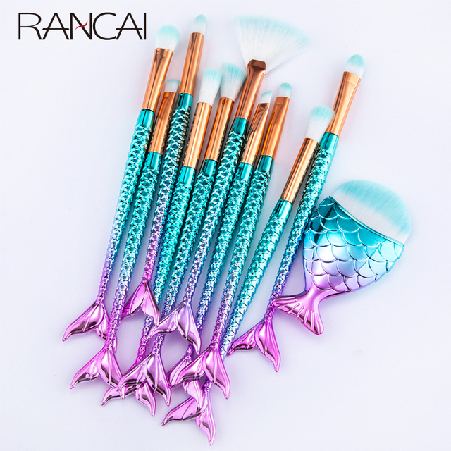 RANCAI 10/11pcs Makeup Brushes Kit maquiagem maquillaje New Mermaid Foundation Eyebrow Eyeliner Cosmetic makeup Brushes