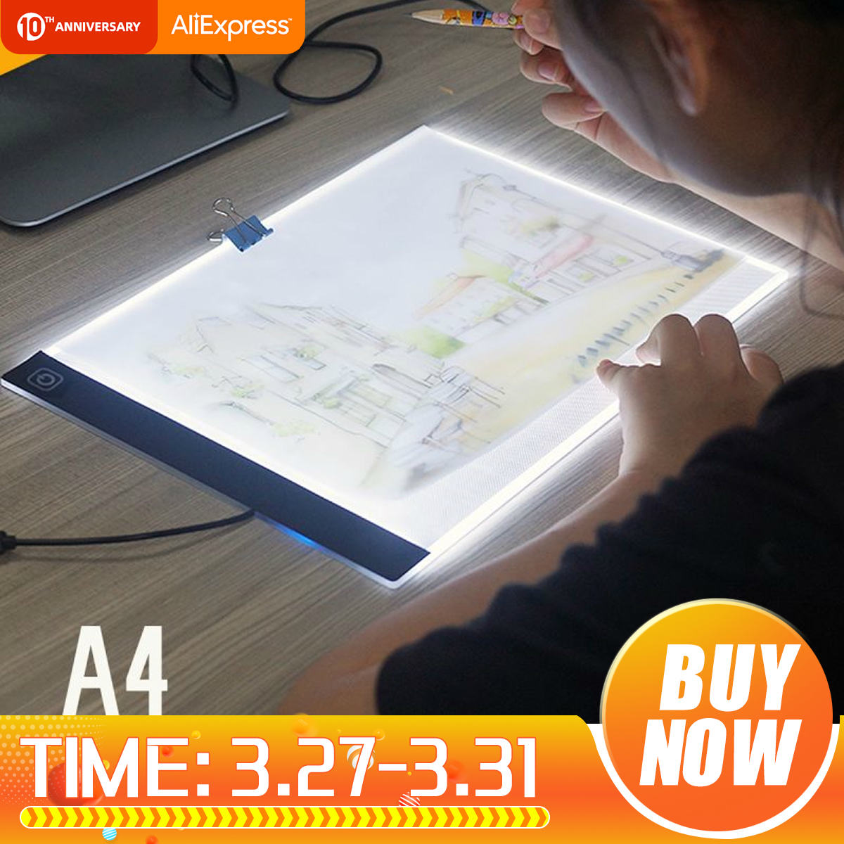 A4 LED Display Panel Artist Stencil Light Painting Drawing Board Table Pad SU