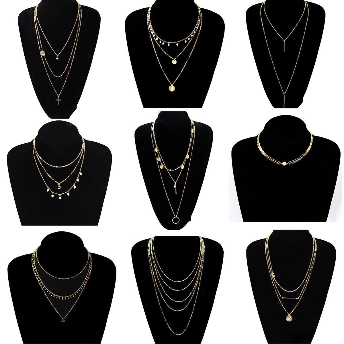 9 Pcs/ Set Fashion Clavicle Long Chain Necklace Pendants Multilayer Gold Color Sequins Beads Choker