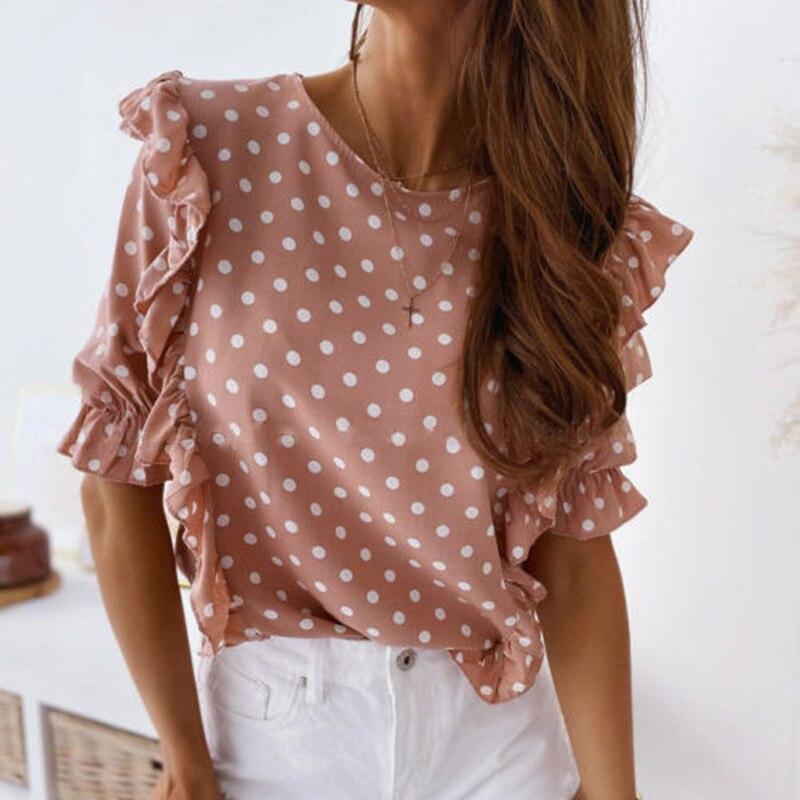 Polka Dot Blouse Shirt Women Puff Sleeve Womens Tops and Blouse Short Sleeve Summer Ruffle Fashion Woman Blouses 2020 Feminine