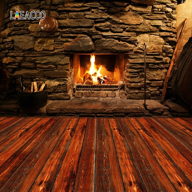 Laeacco Stone Wall Wooden Floor Fireplace Fire Wood  Photography Backgrounds Customized Photographic Backdrops For Photo Studio