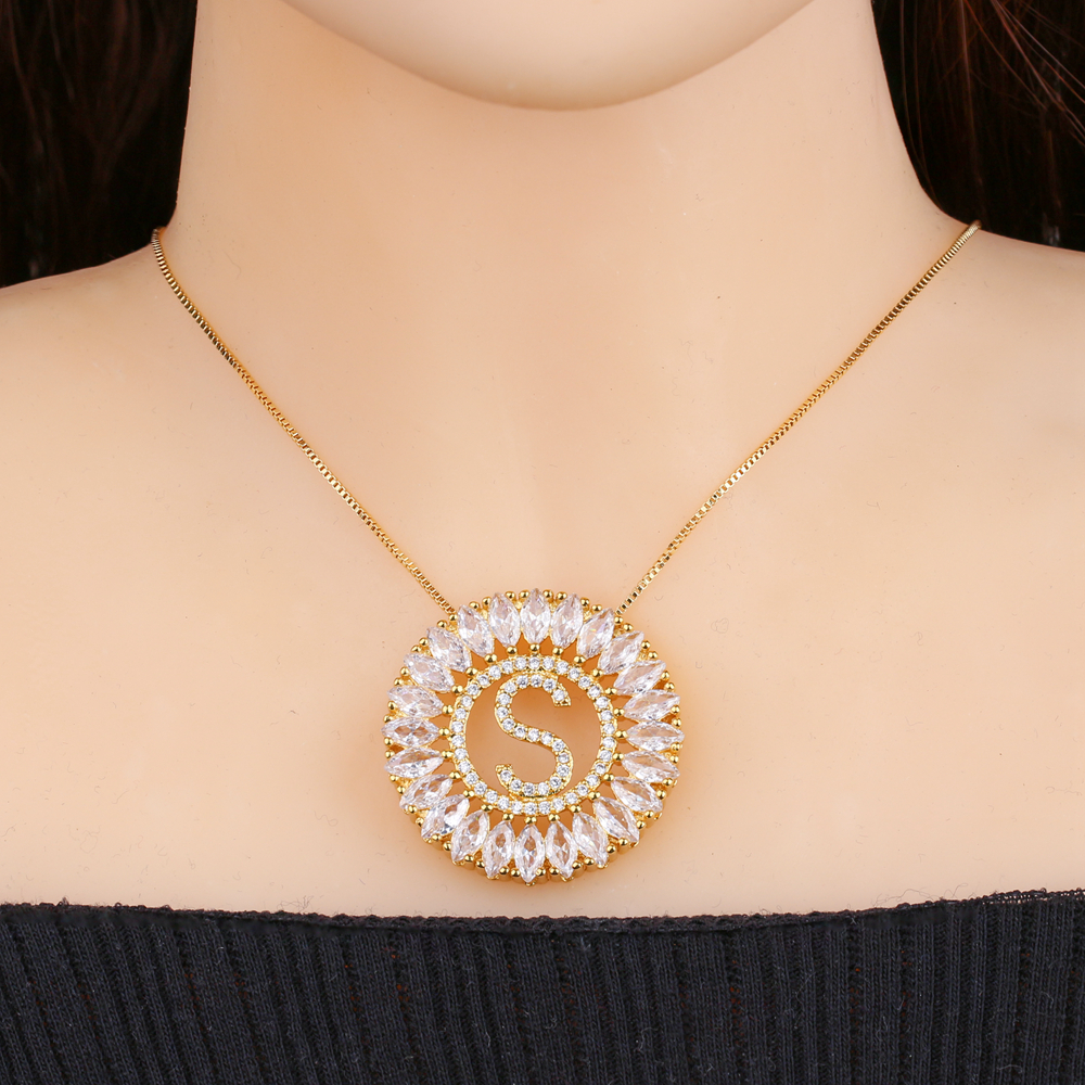 Nome do alfabeto carta inicial pingentes colar zircónio cúbico gargantilhas corrente personalizado colar colar para senhora