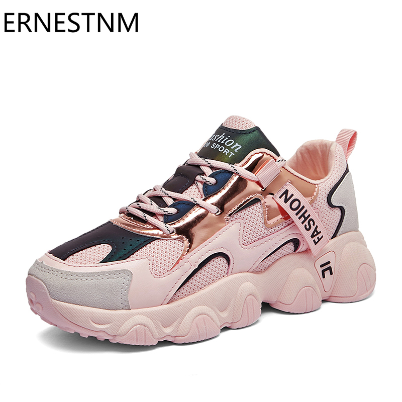 ERNESTNM Chunky Sneakers 2020 Women Female Fashion Sneakers Lace-up Basket Femme Dad Platform Breathable Mesh Sneakers For Women