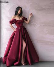 Saudi Arabic Muslim Burgundy Evening Dresses Long Off the Shoulder Slit Satin robe soiree Dubai Kaftan Formal Evening Gowns 2019 burgundy off the shoulder slit midi dress