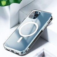 Funda transparente de adsorción magnética para iPhone, funda trasera dura a prueba de arañazos, con imán de carga inalámbrica, para modelos 13, 12 pro max mini