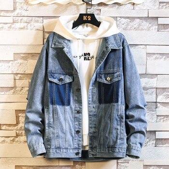 Men's Denim Jacket Spring Casual Slim Fit Bomber Jacket Men's Streetwear Men's Loose Oversized Denim Coat 2020 New Fashion цена 2017