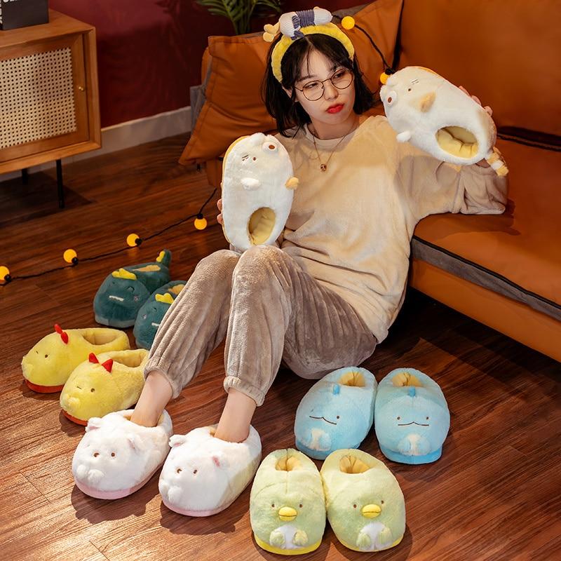 Cute Japanese Anime Plush Home Slippers Penguin Dinosaur Cat Bear Chicken Animal Home Slippers Winter Home Warm Slippers