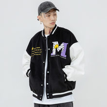 New 2021 hip-hop stitching baseball men's letters daisy flower stitching leather baseball jacket men's spring and autumn street
