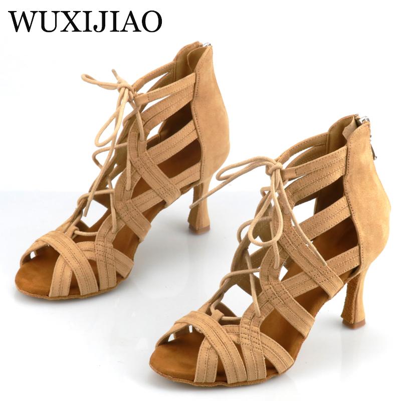 WUXIJIAO Shining Latin Dance Shoes Women Salas Ballroom Dance Shoes Pearl High Heel 9cm Waltz Software Shoes Selling Hot