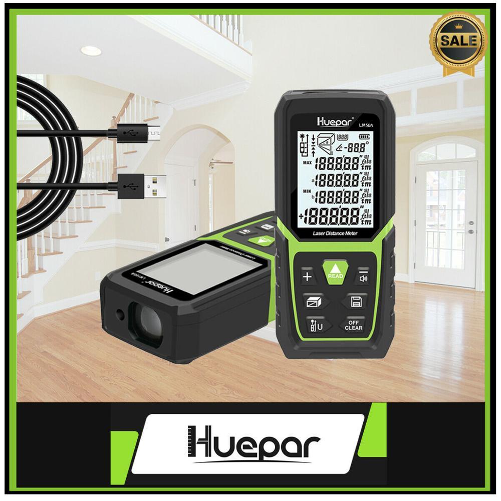 Medidor de Distância a Laser Huepar Rangefinder Li-ion Bateria Elétrica Ângulo Sensor Range Finder Construir Medida Dispositivo Régua Ferramenta 50 m