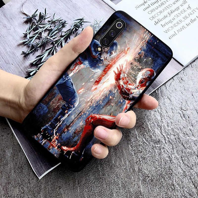 Motirunner deadpool homem de ferro marvel avengers macio preto caso de telefone para xiaomi 8 9 se 5x redmi 6pro 6a 4x7 5plus nota 5 7 6pro