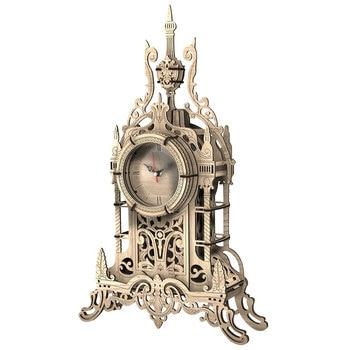 47Pcs 3D DIY Wooden Clock Puzzle Model Building Kit Laser Cutting Belfry Table Clock Toy Gift Home Table Decor - Oak Color