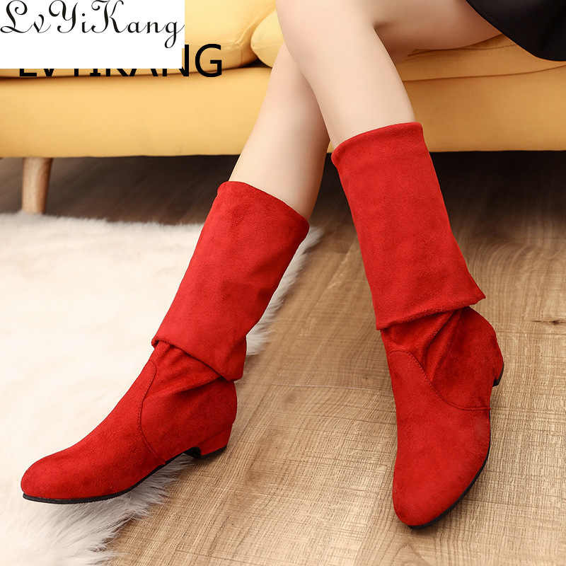 2019 Slim Boots Sexy Over The Knee High Suede Women Snow Boots Women Fashion Winter Thigh High Boots Shoes Woman Botas Mujer