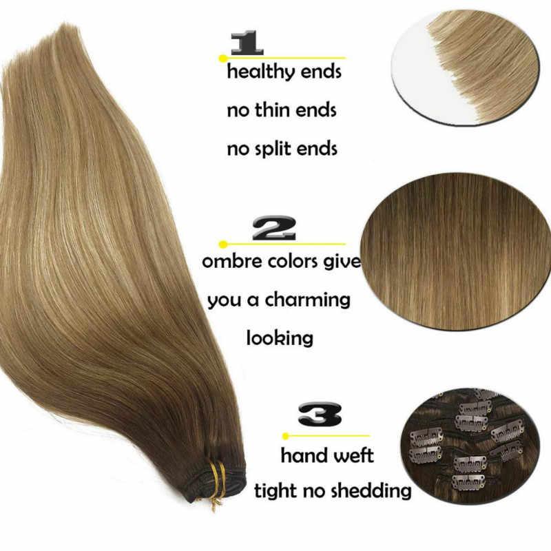 Klip insan saçı postiş tam başkanı Remy saç doğal siyah açık kahverengi bal sarışın Ombre düz saç ekleri 120g