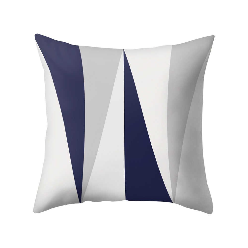 לזרוק כרית מקרה 45*45 חיל הים כחול גיאומטרי דפוס כרית כיסוי ציפות כריות עיצוב הבית מקרי כרית