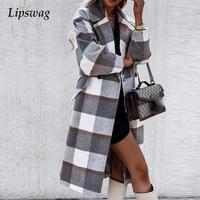 Autunno inverno Design moda Plaid cappotto lungo in lana donna elegante girocollo Office Chic Cardigan Lady Casual tasche con bottoni cappotto