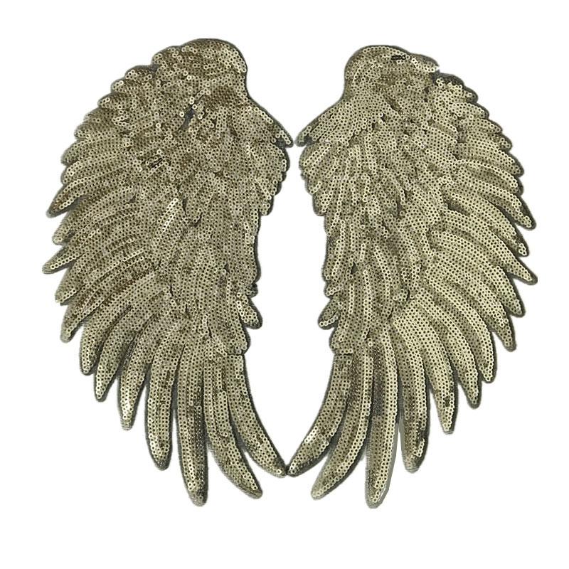 1 paar Mode Pailletten Flügel Patch für Kleidung Applique für Jeans DIY Zubehör Nette Nähen auf Patches 26*13cm 3D Feder Aufkleber