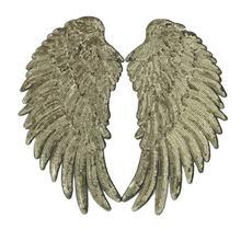 1 paire de patchs d'aile à paillettes, pour vêtements, accessoires de bricolage, mignon, à coudre sur des patchs, plume d'autocollant 3D de 26x13cm