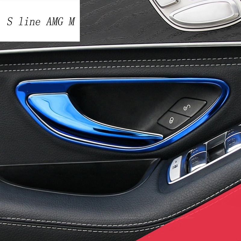 4* Matte Interior Door Armrest Cover Trim for Mercedes Benz GLC Class 2015-2019