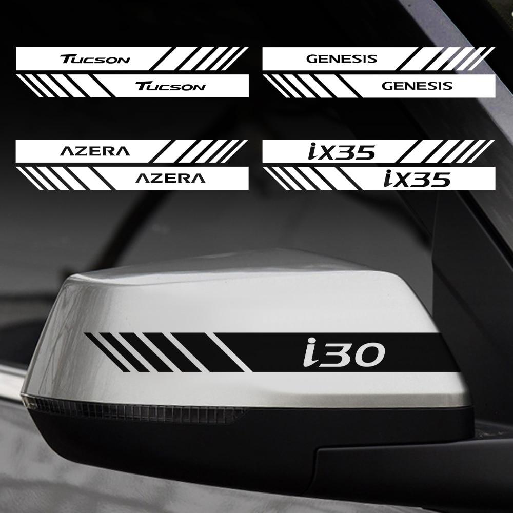 Carro 2 pçs espelho retrovisor lado corpo tarja decalque vinil adesivo para hyundai accent sonata santafe genesis azera gdi i20 i ix20