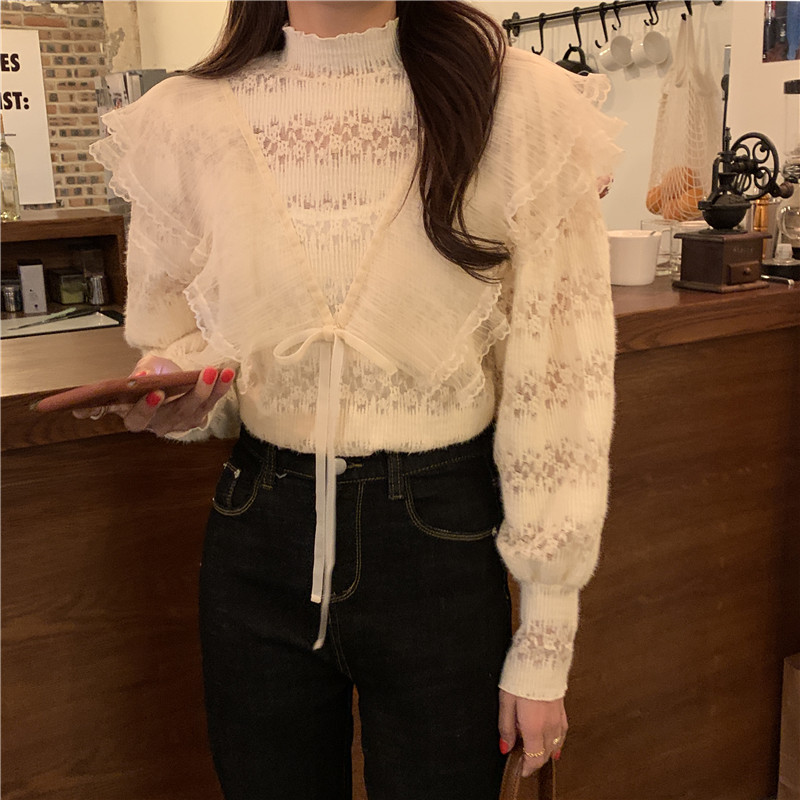 H121c6a34d78e43c7be4aedf3b0c58f22o - Spring / Autumn Stand Collar Long Sleeves Ruffles Lace-Up Blouse