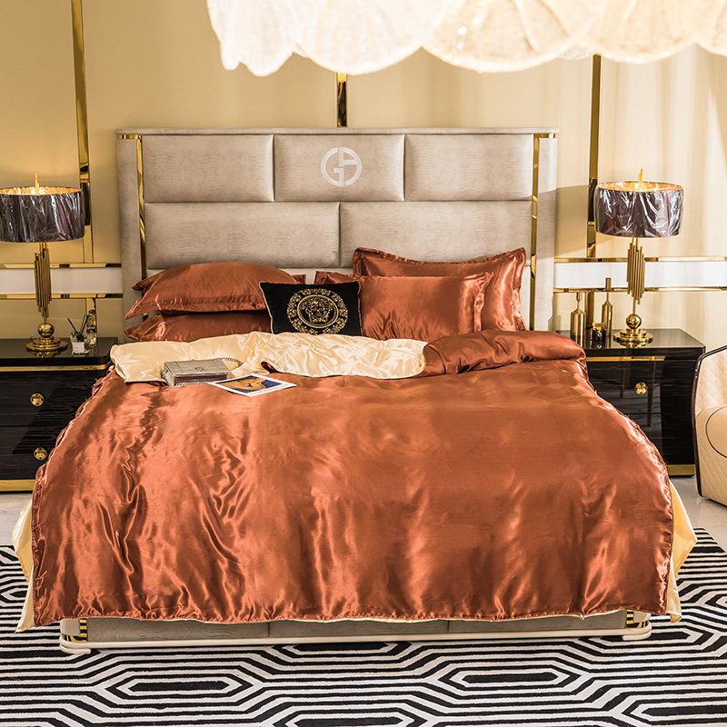 Classic Bedding Beige Coffee Color 1 Duvet Cover 1 Flat Bed Sheet 2 Pillowcase King  Single Queen King 4 Pieces Set 3 Sizes