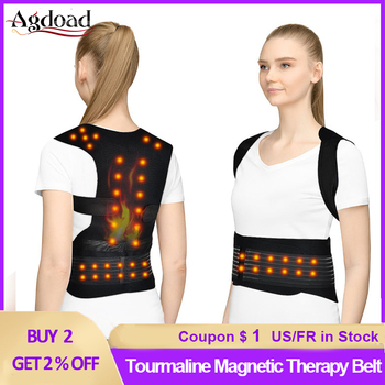 Self-heating Tourmaline Belt Magnetic Therapy Corset Posture Corrector Shoulder Back Support Brace Pain Relif Dropshipping magnetic therapy posture corrector brace shoulder back support belt for braces