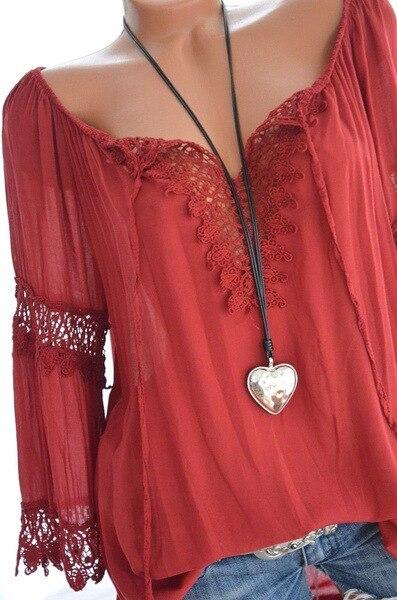 Blusa holgada informal con manga larga para verano, camisa de encaje con cuello en V para mujer, 2021 3