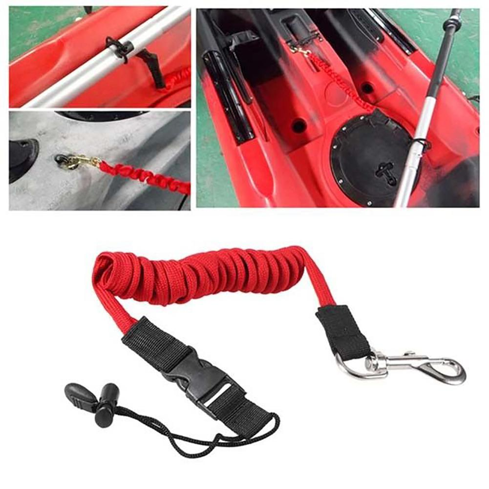 Kayak Canoe Inflatable Boat Paddle Elastic Coiled Leash Cord Oar Rope Tether Rowing Boats Lanyard Fishing Rod Kayak Accessories
