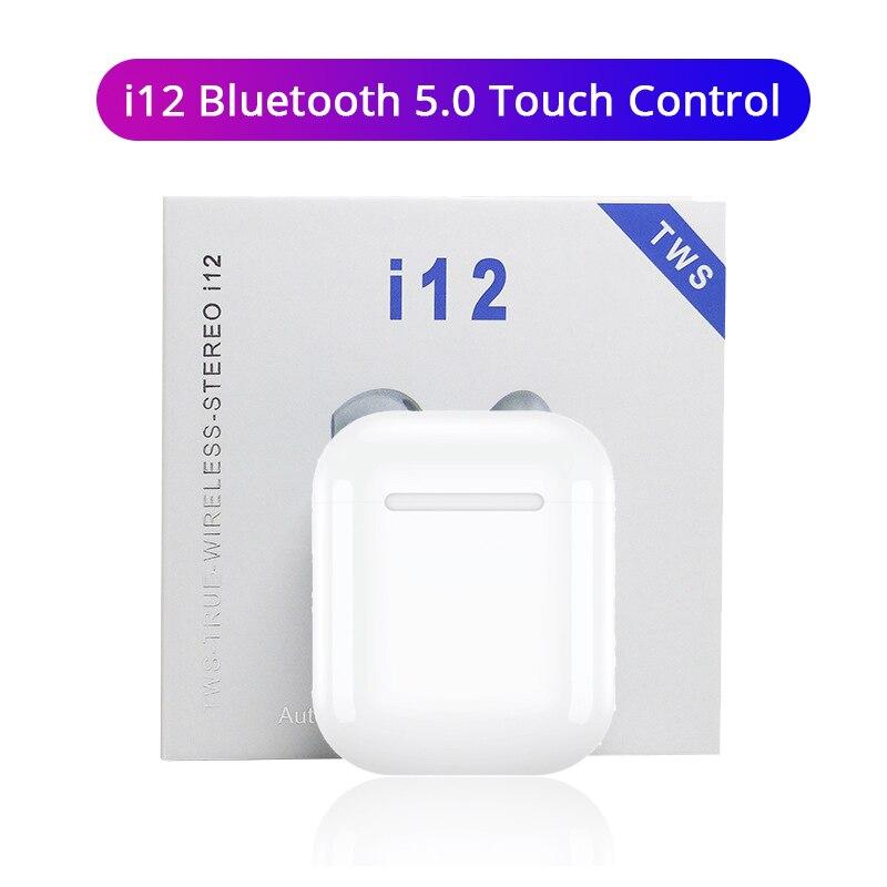 I12 TWS Wireless Bluetooth 5.0 Earphones Touch Control Sports Sweatproof Headphone Portable Earbuds For I10 I20 Tws I30 I60 I80