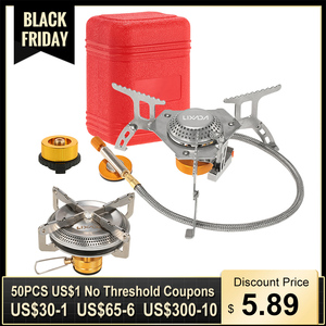 Lixada 3000W Camping Gas Stove Outdoor Cooking Portable Foldable Split Burner with Gas Conversion Head Adapter Split Stove 캠핑용품
