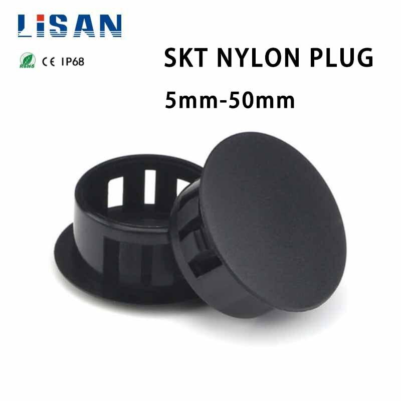 Plastic Plugs Cover Hole Nylon Plugs Dust Caps Flat Head Reserved Hole Plugging Panel Kongsai Table Box Extra Hole Black Plug