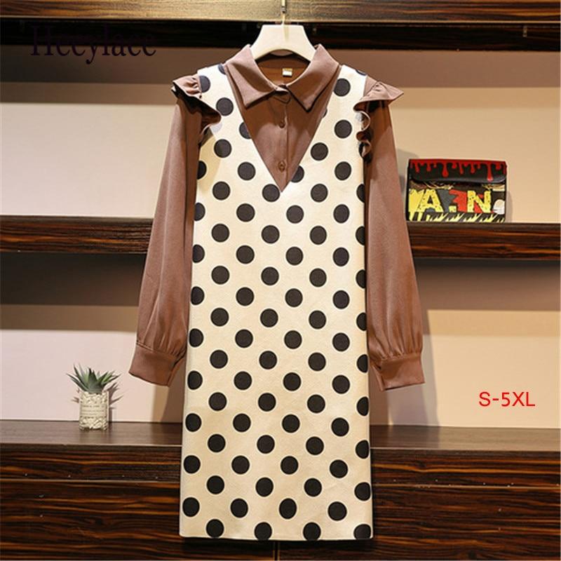 5xl Plus Size Women Two Piece Dress Autumn 2019 Vintage Ruffle Long Sleeve Shirts And Polka Dot Sleeveless Vest Dresses