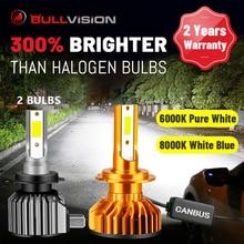 BULLVISION H7 LED 전조등 전구 20000LM Canbus 오류 무료 H4 H1 H11 HB3 HB4 9005 9006 H8 H9 6000K 8000K 4300K 5000K 안개 램프