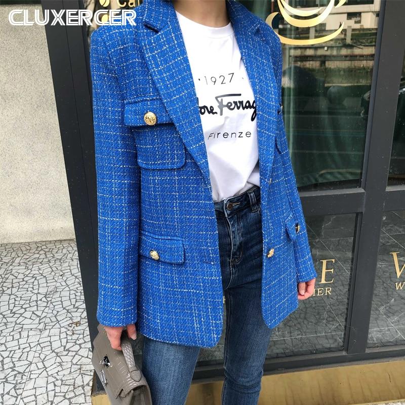 Blue Tweed Blazer Jacket Women 2020 New Spring Autumn Korea Style Plaid Long Sleeve Office Lady Suit Coat Mujer
