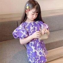 2021 Spring Summer Cute Girls Purple Floral Puff Sleeve Mini Dress Fashion Little Princess Casual Dresses For Kids