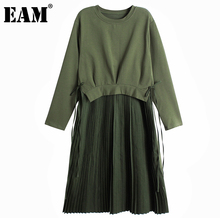 [EAM] Women Army Green Pleated Temperament Dress New Round Neck Long Sleeve Loose Fit Fashion Tide Spring Autumn 2021 1DC844