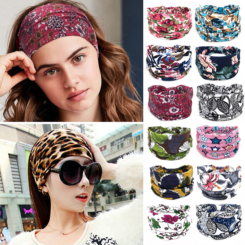 Bohemian BOHO Wide Cotton Stretch Headbands Women Headwrap Turban   Headwear   Bandage Hair Bands Bandana Wide Headbands