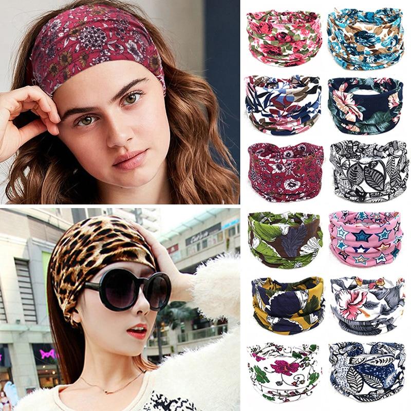 Bohemian Wide Cotton Stretch Headbands Women Headwrap Turban Headwear Bandage Hairbands Bandana Wide Headbands Hair Accessories