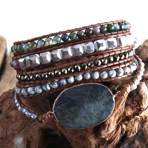 Image 3 - Bracelet en perles Boho, à la mode, fait à la main, pierres naturelles mélangées et pierres de cristal, charme, 5 bandes, cadeau pour femmes Bracelets denveloppement, collection livraison directe