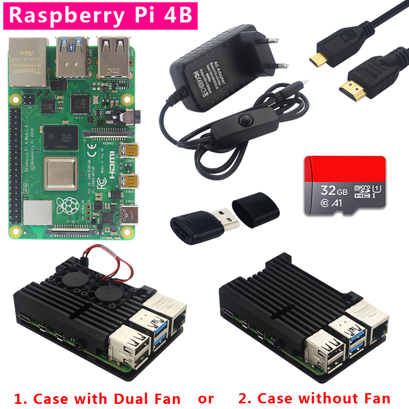 Original Raspberry Pi 4 Model B Kit 1/2/4GB RAM + Dual Fan Aluminum Shell + Power Plug + Micro HDMI Cable + 32GB SD Card + Card Reader For Raspberry Pi 4 4B