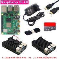 Original Raspberry Pi 4 Model B Kit 1/2/4GB RAM + Dual Fan Aluminum Shell + Power Plug + Micro HDMI Cable + 32GB SD card + Card Reader for Raspberry Pi 4 4B