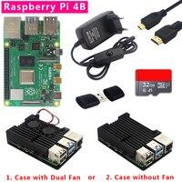Original Raspberry Pi 4 board with 1/2/4GB RAM +Aluminum Alloy shell +Power plug +Micro HDMI Cable+ 32G SD card + Card Reader