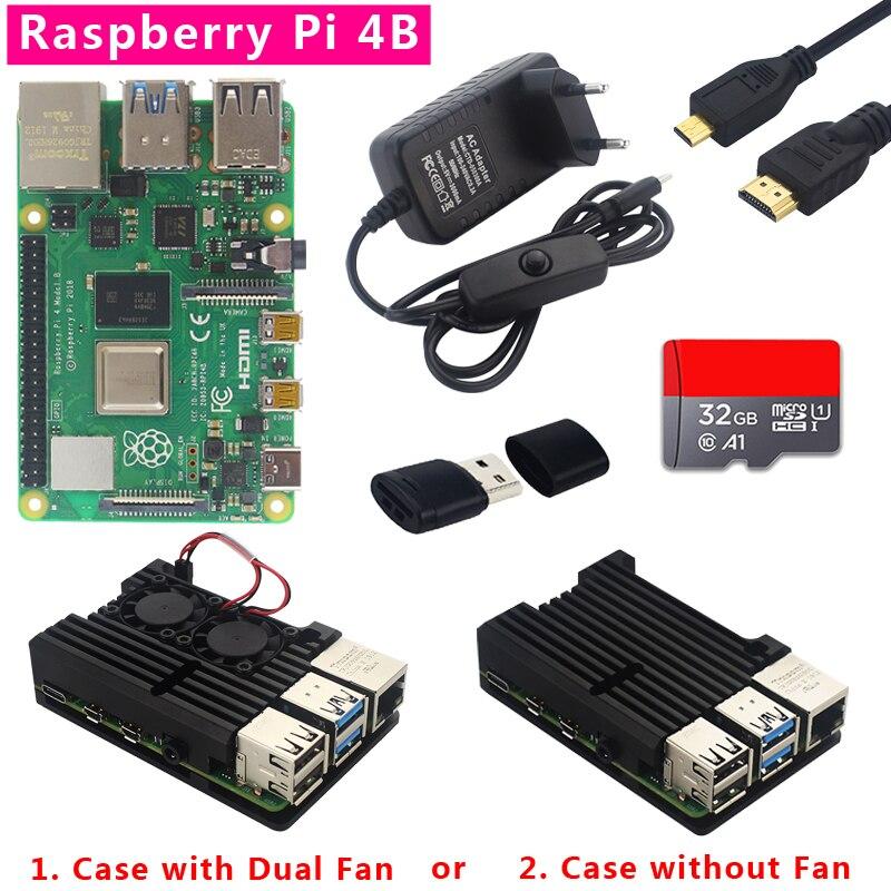Original Raspberry Pi Modelo B Kit 4 1/2/4GB RAM + Dupla Ventilador De Alumínio Shell + plug Power + Micro Cabo HDMI + 32GB SD card + Leitor de Cartão para Raspberry Pi 4 4B