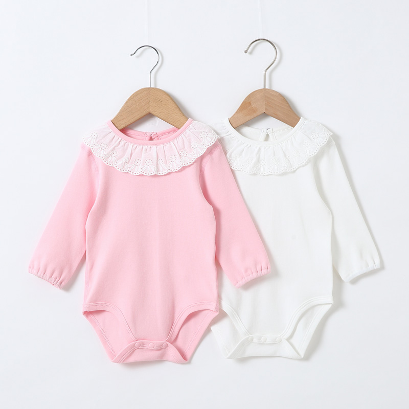 Baby Clothes Overalls Children Bodysuit Long Sleeves Baby Girls Clothes Children Clothing 100% Cotton Frill Neck Baby Jumpsuit