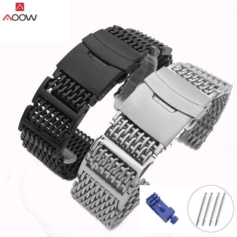 AOOW 20/22/24mm Mesh Stainless Steel Watchband Replacement Bracelet Folding Clasp With Safety Watch Band Strap HQ Shark Silver