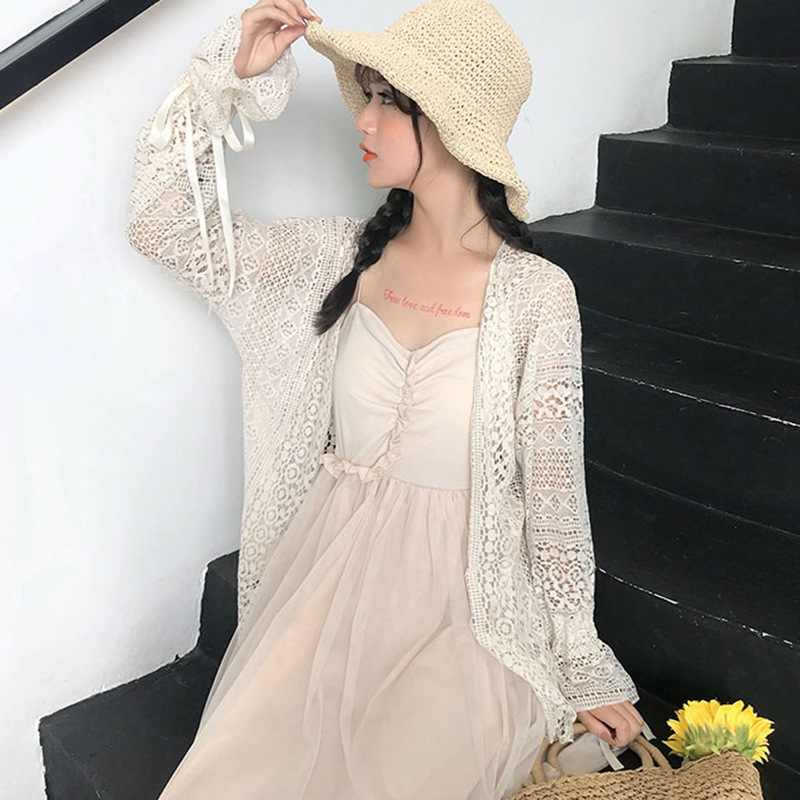 Summer Sexy Hollow Out Blouse Bikini Cover Up Batwing Sleeve Women Kimono Cardigan Female Sun Protection Lace Tops Blusas